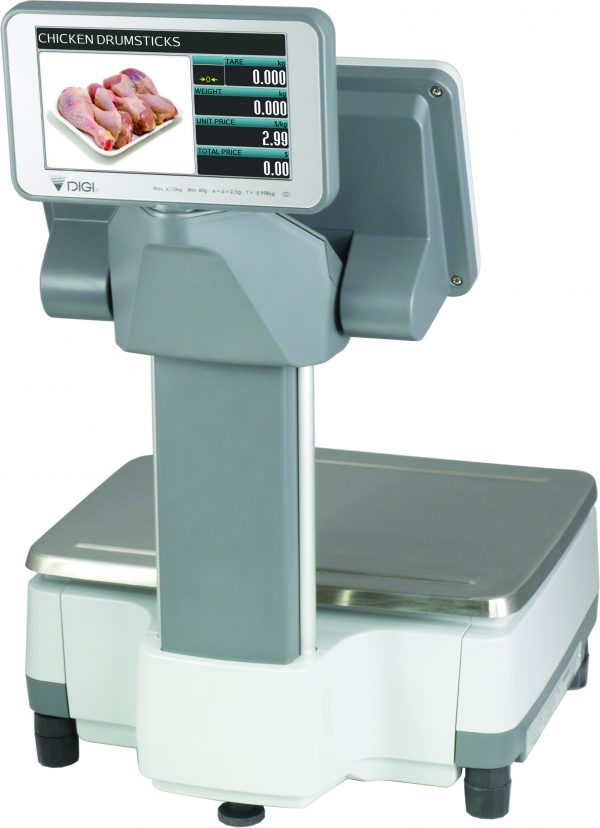 Elevated Touch Screen Weigh Price Labelling POS Scale